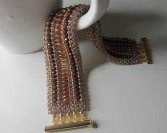 Beadwoven cuff bracelet, statement bracelet, casual bracelet, flexible bracelet, beaded cuff bracelet, amber bracelet,