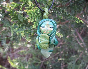 Forest Goddess with Raw Green Fluorite Stone