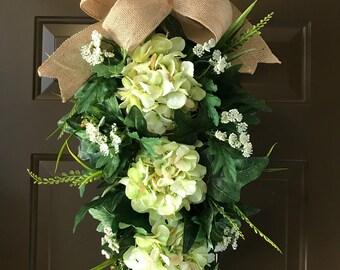 Front Door Wreath - Green Hydrangea  - Teardrop Wreath - All year round wreath - Floral Wreath - Spring Wreath - Summer Wreath - Home Decor