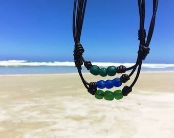 Father's Day Gift Recycled Glass Necklace Mens Sea Glass Necklace Blue African Beads Tribal Necklace Blue Glass Bead Necklace Surfer Choker