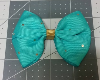 Teal and Gold Hair Bow
