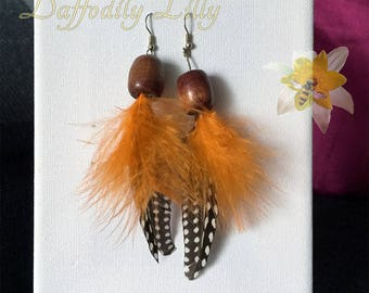 Feathery Orange Earrings