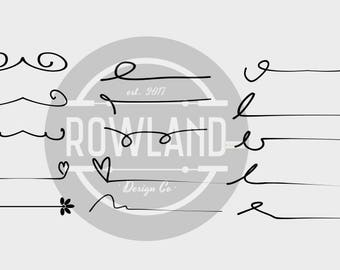 SVG file - 15 Line and Swirls Element Pack for Teachers, Crafts, DIY and Cricut, PNG Elements