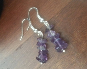 Chakra Earrings- Natural Amethyst and 925