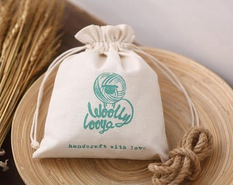 Custom cotton bag drawstring pouch personalize LOGO name tagline classification Sachet cosmetic jewelry gift packaging bag 10-Pack