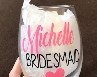 Bridesmaids wine glass. Bridesmaid wine glasses. Gifts for bridesmaids. Bridal party wine glass. Bridal party gift. Asking bridesmaids. Gift