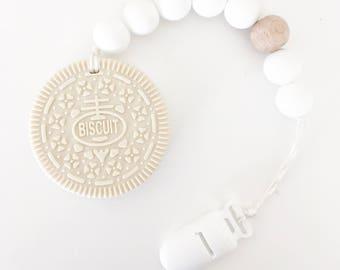 Cookie Biscuit Vanilla Teether Teething Clip Baby Gift