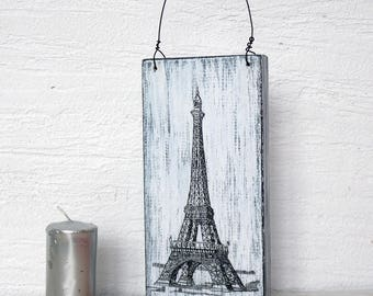 Eiffel Tower decor, Paris decor rustic, Wall Decor Plaque Eiffel Tower, sign Eiffel Tower, rustic sign wall decor black and white sign Paris