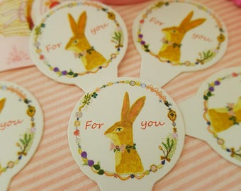 Cupcake Toppers For You - Set of 12 featuring Bunny Rabbit