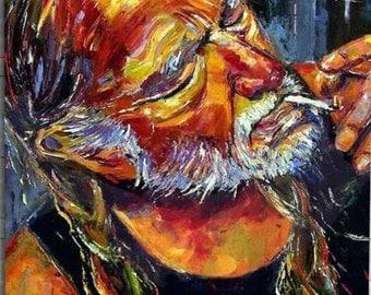 """Framed Willie Nelson Print 11X17 (Black 1"""" Frame)"""