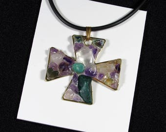 Violet and green pendant made of bronze and gemstones - quartz, green jasper and amethyst