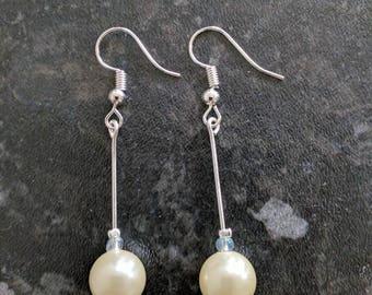 Ivory Pearl earrings, Dangle Silver earrings, Delicate Earrings, Wedding Jewellery, Bride, Bridemaid, Gift
