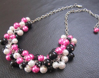 Black and Hot Pink Necklace, Cluster Pearl Necklace, Chunky Bib Necklace, Bauble Bubble Necklace, Bridal, Bridesmaid Jewelry