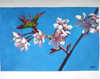 Blossoming tree original gouache painting