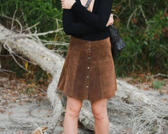 Vintage 90s Suede Scalloped Skirt