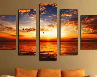5 Panels Sea View Canvas Painting