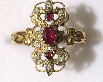Ring old XIX yellow gold 18 k Ruby, diamond and watermarks - ancient Rubies and diamonds Ring