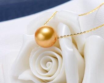 18K Australian South Sea Golden Pearl necklace