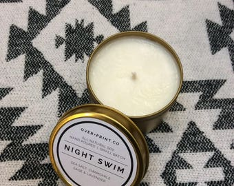 Night Swim gold tin soy candle