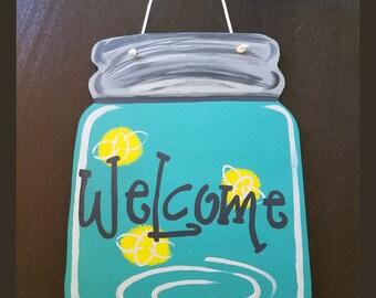 Mason Jar Door Hanger, Welcome Door Hanger, Mason Jar Door Decor, Firefly, Door Art, Summer Door Hanger, Summer Door Art, Wreath