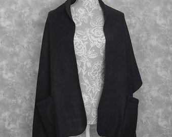 Black Fleece Shoulder Shawl Wrap Misses Onesize 2 Pockets 4 Colors Edge Topstitching Handmade