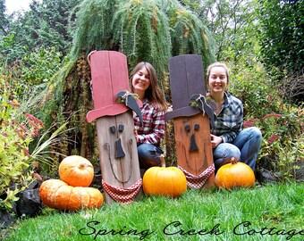 Primitive Scarecrow, Halloween, Fall Decor, Handpainted, Rustic, Autumn, Porch Decor, Fall, Home Decor, Thanksgiving
