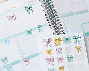 24 Bows, Ribbon, Reminder Stickers, Don't forget, Kawaii, Cute, Decoration, Planner, Bullet Journal, Scrapbook, Agenda, Diary BOW2