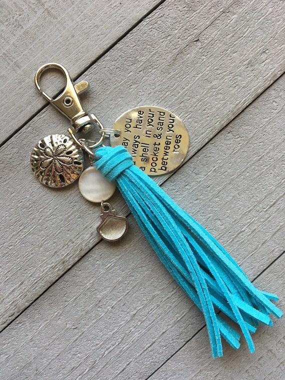 "Beach Purse Charm Tassel, Travel Gift, Boho Keychai - 3.5"" Mini Tassel + Charms - Beach Life, Salt Life, Gift for Her (ST102)"