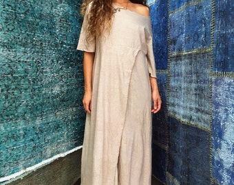 The Stars Go Blue maxi dress in organic hemp jersey (mini length). Made to order.