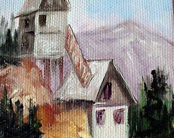 "Edges, Mining Town, oils on canvas 4""x3""  Barbsgarden, Barbara Haviland"