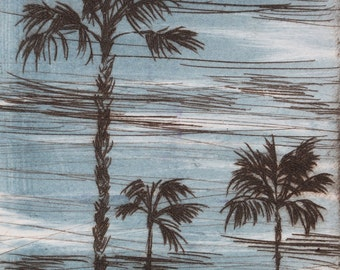 Three Palms - 3.5 x 5 inch drypoint monoprint of Palm Trees with blue sky