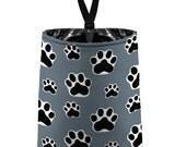 Car Trash Bag // Auto Trash Bag // Car Accessories // Car Litter Bag // Car Garbage Bag - Paw Print Dark Grey Black White Dog Cat Pet