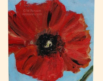 Red Poppy, Square Painting, Original Art, Original Painting, Flower Painting, Flower Art, Home Decor, Office Art, Gift, Winjimir, 9x9x2,