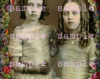SALE no6331 Victorian Sisters Little Girls instant Digital Download Vintage Christmas Beautiful Girls Angels Sisters Printable