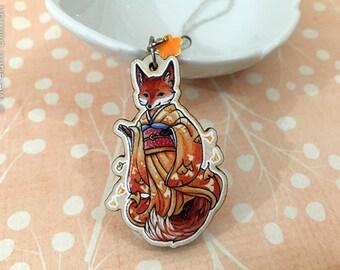 Kitsune charm | Wooden Fox Charm | cute animal | Ginkgo leaves | Kimono | Kawaii | Bag Charm
