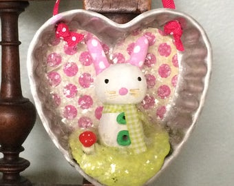Easter Bunny Ornament in Vintage Heart Tin