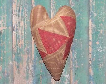 Antique Quilt Heart, Primitive Heart, Rustic Heart Ornament, Farmhouse Decor, Americana Decor, Valentine, Red White, READY TO SHIP