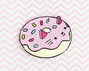 Donut Patch - Iron on Patch Cat