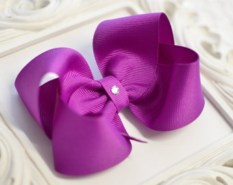 Royal Orchid Boutique Style Hair Bow - 4 sizes available - small, medium, large, extra large - girls bows - toddler bows - no slip