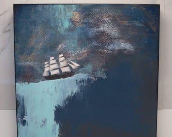 Ship Painting, Orginal Acrylic Painting, Ocean Decor for the Nautical Themed Home