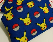 POKEMON in Blue 2 Piece Set Zippered Blue Wallet and Coin Pouch Make Up Bag Pencil Case Anime Cosplay