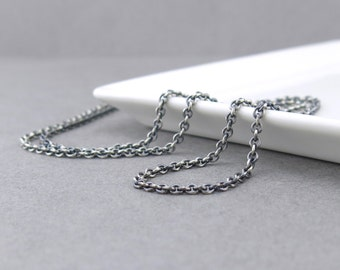 Heavy Silver Chain Necklace Mens Necklace 3.2mm Cable Chain Oxidized Heavy Weight Silver Necklace Chain Unisex Jewelry Long Necklace