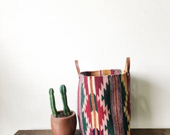 Woven Bucket—Multi-Colored Southwest Pattern