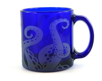 Octopus Tentacles - 13oz Coffee Mug - Etched Cobalt Blue Glass - Ready to Ship