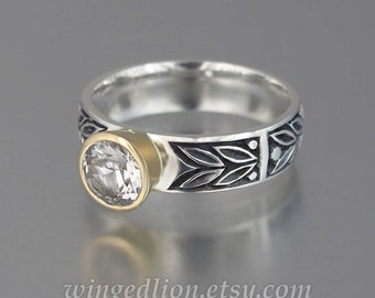 RESERVED for I. 2nd payment - SACRED LAUREL silver and 14K gold White Sapphire engagement ring