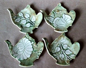 Four Ceramic Damask Teapot Tea bag Holders  spoon rest Moss Green