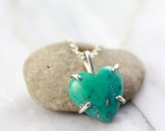 Turquoise Heart in Silver Prong Setting Necklace