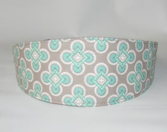 Adult Headband, Silver Aqua Womens Headband, Fabric Headband, Reversible Headband for womens, Women Hairband  Hair Fashion Accessories