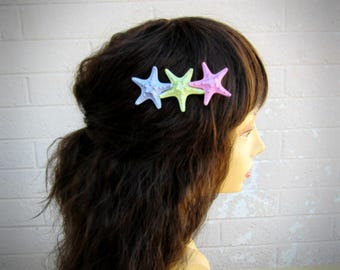 "Starfish Hair Clip, Triple Starfish Hair Clip, Mermaid Hair Clip, Knobby Starfish, Beach Weddings-""Pearly Magic"""