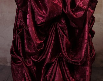 Burgundy Floral Knee-length Bustle Skirt with Gold lace trim